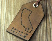 Wholesale custom leather luggage tag,custom father's day gift,personalized gift for daddy, personalized world state map luggage tag