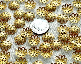 Solid Brass Beadcap Stamping Filigree Bead Caps 11mm rbc03(60pcs)