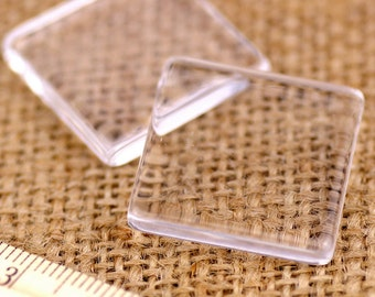 25mm Square Glass Cabochon Seting with Flat Back For Jewelery Pendant rg25x25(10pcs)