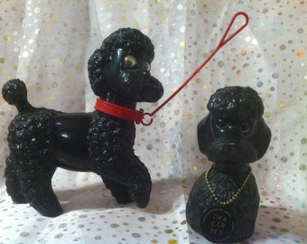 Vintage Set Of Plastic Poodle's From the 1950's,Retro, Kitsch, Mid Century