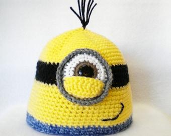 Minion inspired crocheted Beanie