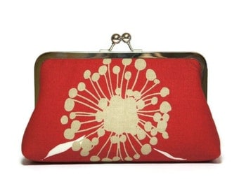 Bridesmaid Clutch, Poppy Clutch  in Red, Silk Lining, Bridesmaid Gift, Wedding clutch