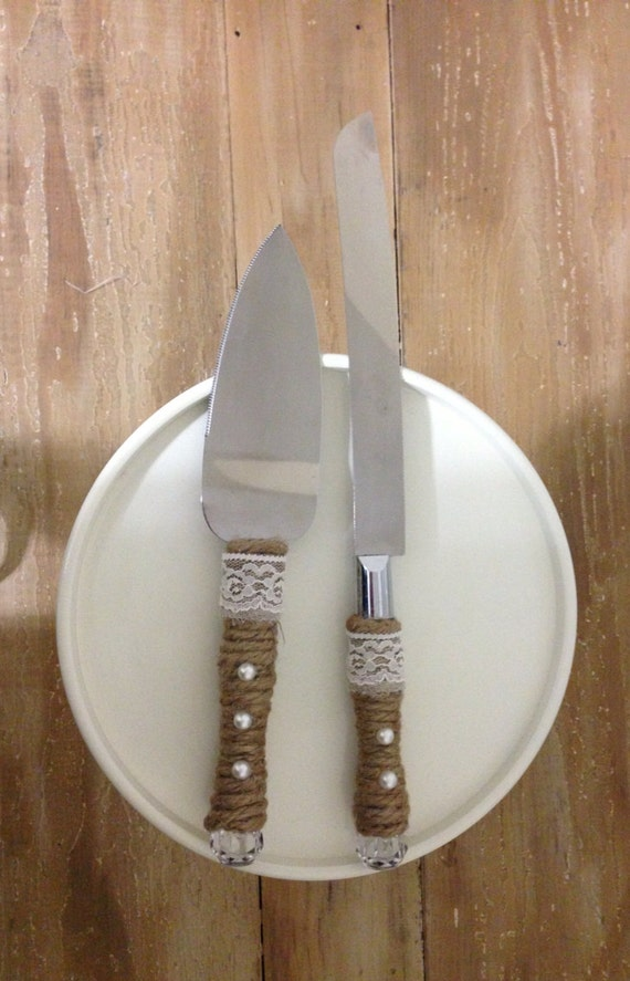 Rustic Wedding Cake Cutter And Server