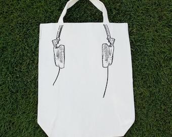 Reusable Canvas Grocery Tote Bag - Headphones