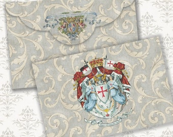 ROYAL - Printable Download Digital Collage Sheet Envelope with print on reverse side - Print and Cut