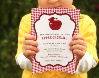 Apple Orchard Party Printable Invitation fall harvest