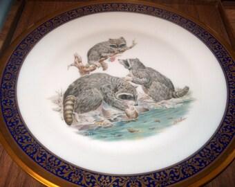 Vintage Lenox  Boehm Plate, Raccoons, 1973, Woodland Wildlife, NIB, WAS 30.00 - 50% = 15.00