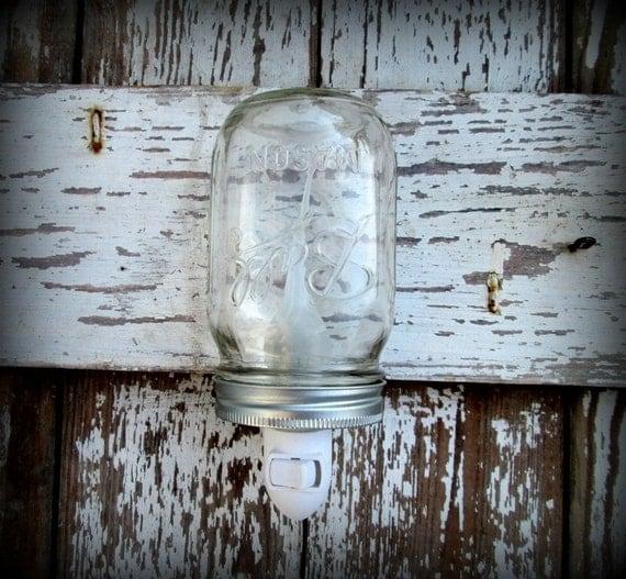 Clear Mason Ball Jar Rustic Night Light By HeartofGodRanch