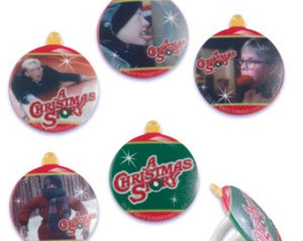 12 A Christmas Story Cupcake / Cake Topper Rings Birthday party supplies movie Ralphie holiday treats