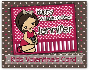 """Kids Valentine's Day Personalized Card More Cute characters girl 4x3"""" 10x7 cm"""