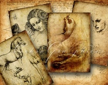 Leonardo Da Vinci - 2.5x3.5 inch cards - Digital Collage Sheet CG-225 for ATC ACEO Jewelry Holders, Gift Tags, Journalling, Cards
