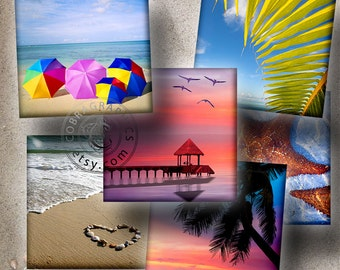 Tropical Paradise I - 1x1 inch squares - Digital Collage Sheet CG-471S for Jewelry, Crafts