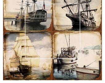Antique Ships - 4x4 inch tiles - 5 Digital Collage Sheets CP-193 for Scrapbooking Coasters Stickers