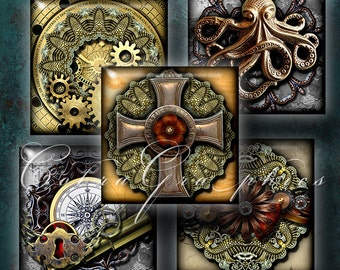 "Steampunk Designs II - 1""x1"" squares - Digital Collage Sheet CG-477S for Jewelry, Crafts"