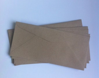 Kraft Envelopes - set of 25 - long envelopes with diamond flap - recycled paper/Eco friendly brown paper