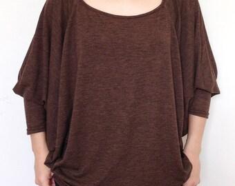 SC012: Brown Women Blouse, Dolman T Shirt, Dolman Sleeve Top, Oversized Top, Round Neck Tee, Ladies shirt, Casual Chic Wide Sleeve Women Top