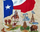 "Lone Star Map Brown cotton panel -- approximately 23"" x 44"""