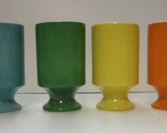 Vintage 1970's Primary Colors Coffee Mugs Set of 4  Japan Art Deco Retro (G1)