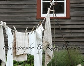 Primitive Rustic Homestead Hanging Laundry Fine Art Landscape Photography Wall Art Earth Tones Wall Art