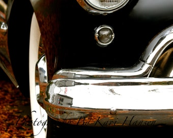 Classic Car Autumn Road Trip Black Car Fat White Wall's Fine Art Photography Man Cave Garage Shop Wall Decor