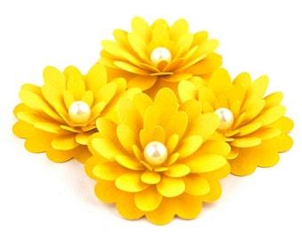 1/2 Dozen Handmade Paper Flower Embellishment - Your Choice of Color