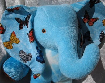 Stuffed animal ELEPHANT plush stuffed elephant blue soft TOY elephant nursery elephant baby shower elephant BUTTERFLIES blue turquoise ooak