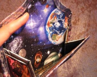 UNIVERSE WALLET Planets Purse Wallet Earth Wallet Astronomy Purse Wristlet Astrology Wallet Purse Accessory Handmade Space Wallet purple