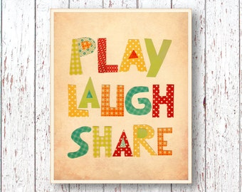 Print Play Laugh Share print - Blue green red yellow orange Art for children - Kids art Playroom Family Room Boys Girls room 8x10 or 11x14
