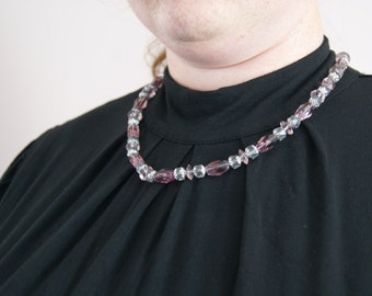 Necklace - Pale Purple and Clear Glass