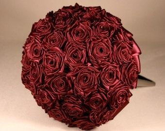 Wine Satin Rose Bridal Bouquet