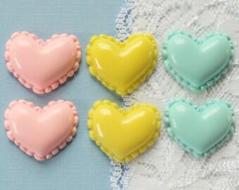 6 Pcs Macaron Heart Cabochons - 25x22mm