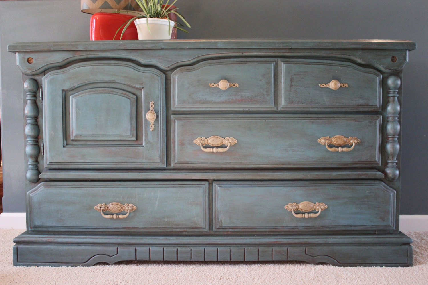 Solid Wood Blue Buffet Distressed Furniture Home Decor