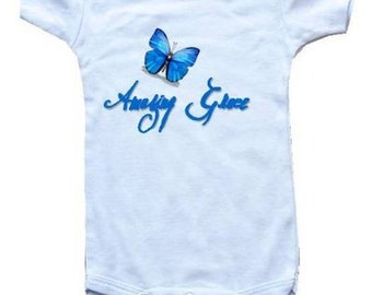 Baby One-Piece Bodysuit-Personalized Gifts-Christian Baby Gifts-Amazing Grace - BLUE BUTTERFLY - White, Blue or Pink