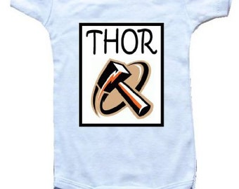 Baby One-Piece Body Suit -Personalized Gifts-- THOR - The Hammer!!! - CreativeIdeas&More Baby Designs - White, Blue or Pink