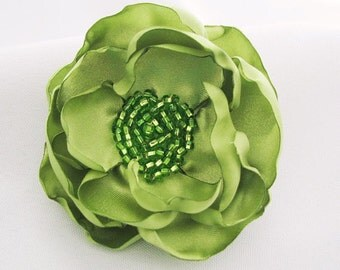Green Hair Flower - Handmade Rose for Hair - Flower Hairclip