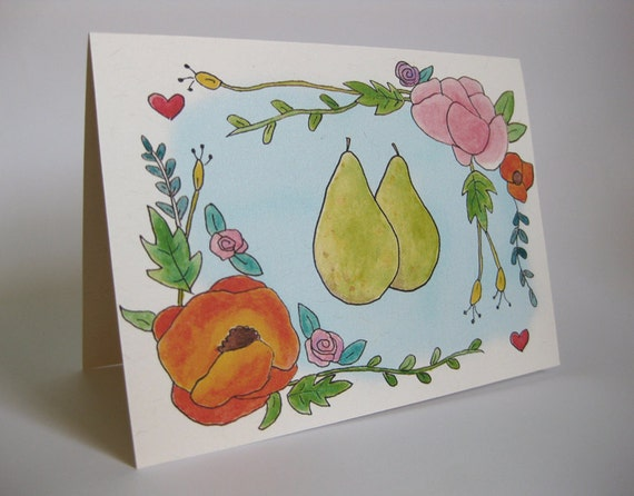 Engagement/Wedding Greeting Card - Handmade and printed from original ink and gouache illustration