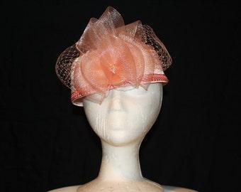 Women's Peach Satin Pillbox Dress Hat