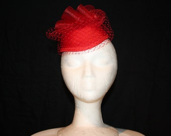 Women's Red Satin Pillbox Dress Hat With Veil