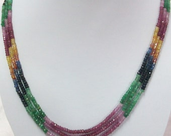3.5mm Natural MULTI SAPPHIRE Beads Rondelle necklaces with theared micro faceted Rondelle Beads...  lots of gorgeous....