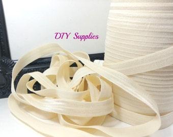 5/8 Cream elastic, FOE, Wholesale elastic, headband elastic, fold over elastic, diy hair ties, elastic by the yard