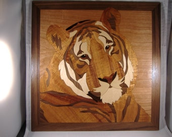 Tiger Marquetry Wood Art 13 x 13