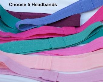 Interchangeable Elastic Headband- choose 5 colors and sizes- mix and match - toddler headband - baby headband - newborn headband- photo prop