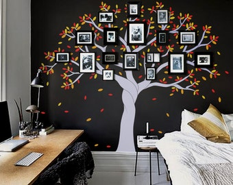 Photo tree wall decal photo frame tree decal