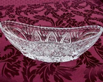 """Vintage Crystal Oval Serving Bowl with Pinwheel Cuts, 9"""" Long Banana Bowl"""