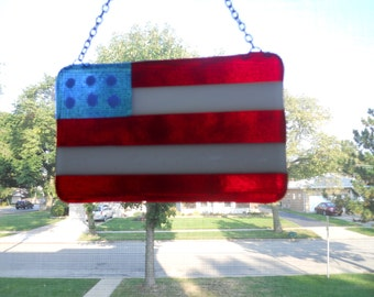 Fused glass flag sun catcher Americana, 4th of July decor with silver chain for hanging. Independencey, flag , memorial day decoration.