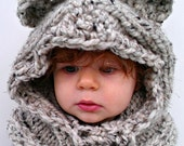 chunky knit bear hood. Ewok hood. Animal hood. Custom colors and sizes. Infant-Adult.