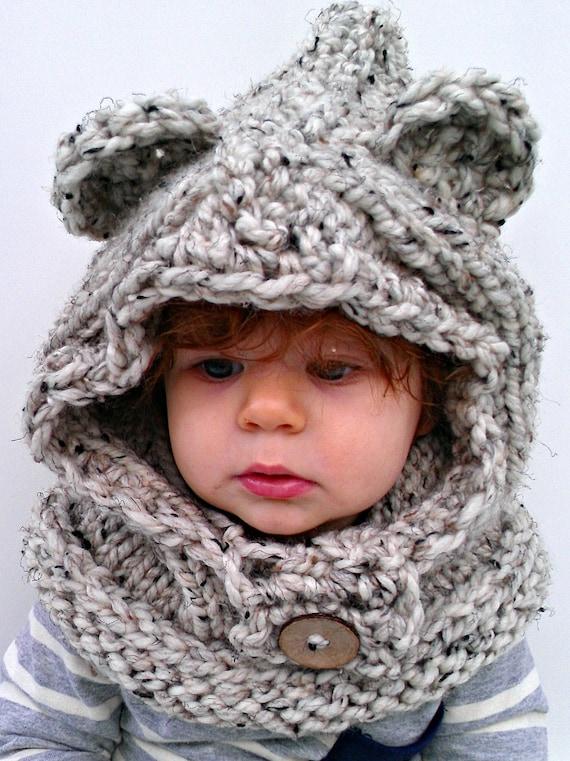 chunky knit ewok/bear hood. Made to order. by LePetitFoxKnits