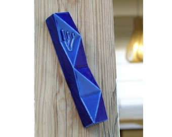Mezuzah case Modern geometric Judaica - Blue ceramic Contemporary Jewish gift for wedding Gift for new home Made in Israel