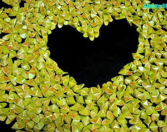 """365pcs Medium Size Yellow Color 3D origami Hearts """"LOVE"""". (RS paper series). #FOH-146."""