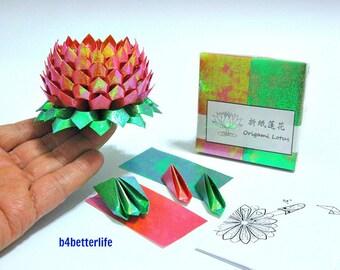 Pack Of 200 sheets Dark Orange Color DIY Origami Lotus Paper Folding Kit for Making 2pcs of Medium Size Lotus. (TX Paper Series). #LPK-22.